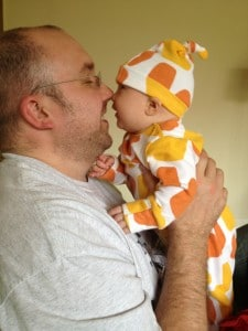 Vicky's tribe: her partner and LLL gave her the supposrt she needed - here dad and baby are nose to nose